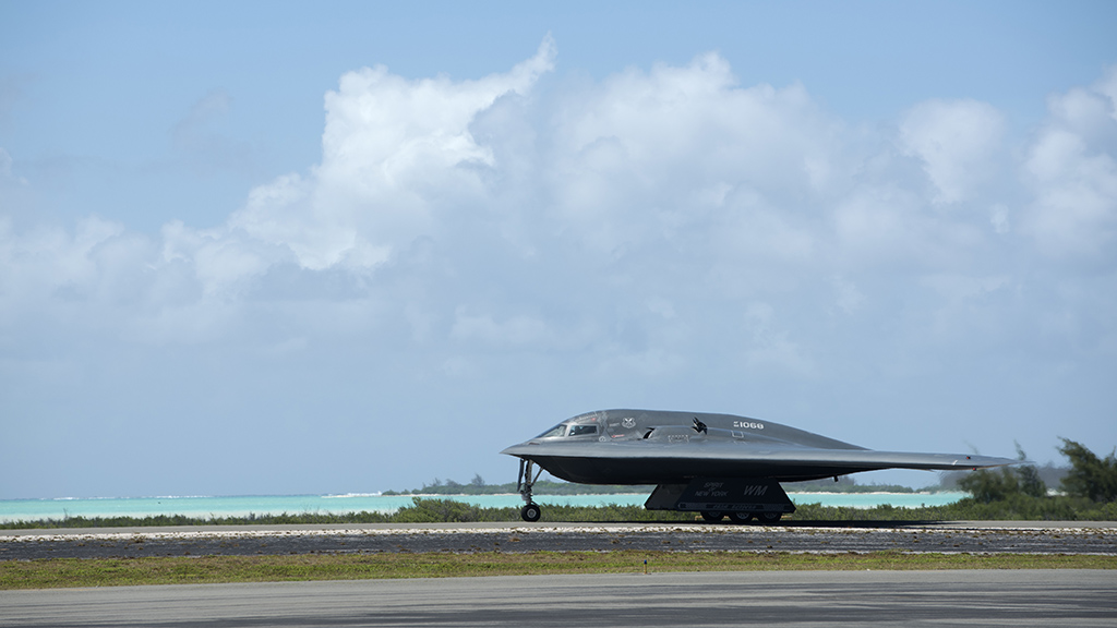 B 2 Spirit Stealth Bombers Conducted Hot Pit Refueling At Wake Island